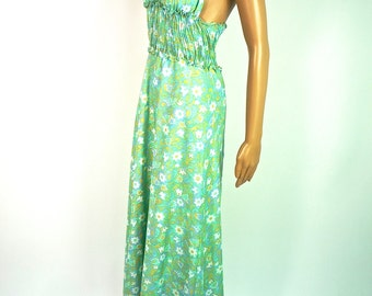 ON SALE Lovely 60s Psychedelic Cotton Halter Maxi Dress