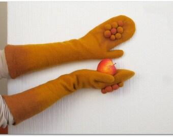 Mustard and Cinnamon, fun pompom mittens, elbow length