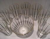 retro mid century atomic ice bucket and 7 tumblers black gold white mad men