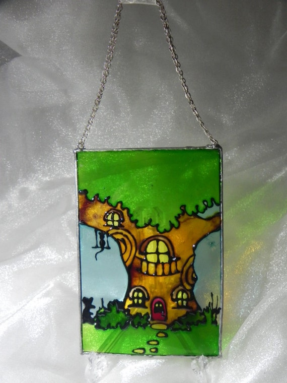 Fantasy forest - mouse tree house window decoration