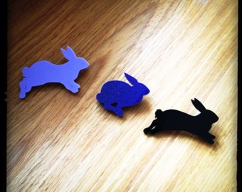 Rabbit Brooches - Run Rabbit Run - Perspex Brooches -  Made in England