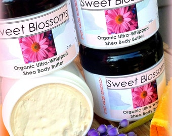 SWEET BLOSSOMS Organic Ultra-Whipped Body Butter, Luxurious Cream Lotion. Vegan. Sweet Orange, Warm Vanilla & Floral oils!