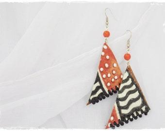 Long Tribal Earrings, Decoupage Earrings, Leather Earrings, Chevron Leather Jewelry, Geometric Earrings, Beaded Earrings, Arrow Earrings