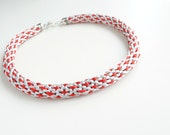 Kumihimo necklace, red and grey necklace, chunky necklace, statement necklace, braided necklace, thick necklace, summer trends, gift for her
