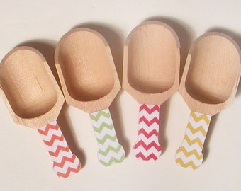 72 Color Options - Chevron Wooden Scoops - Set of 4