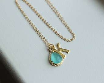 Any Letter & Color Pendant - Mint Initial Necklace Letter Jewelry Charm Personalized Necklace Monogram Necklace Letter K Bridesmaid Gift