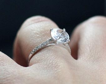 Forever One Moissanite Engagement Ring Diamonds Half Eternity 2ct 8mm Pistis Custom White-Yellow-Rose Gold-10k-14k-18k-Platinum