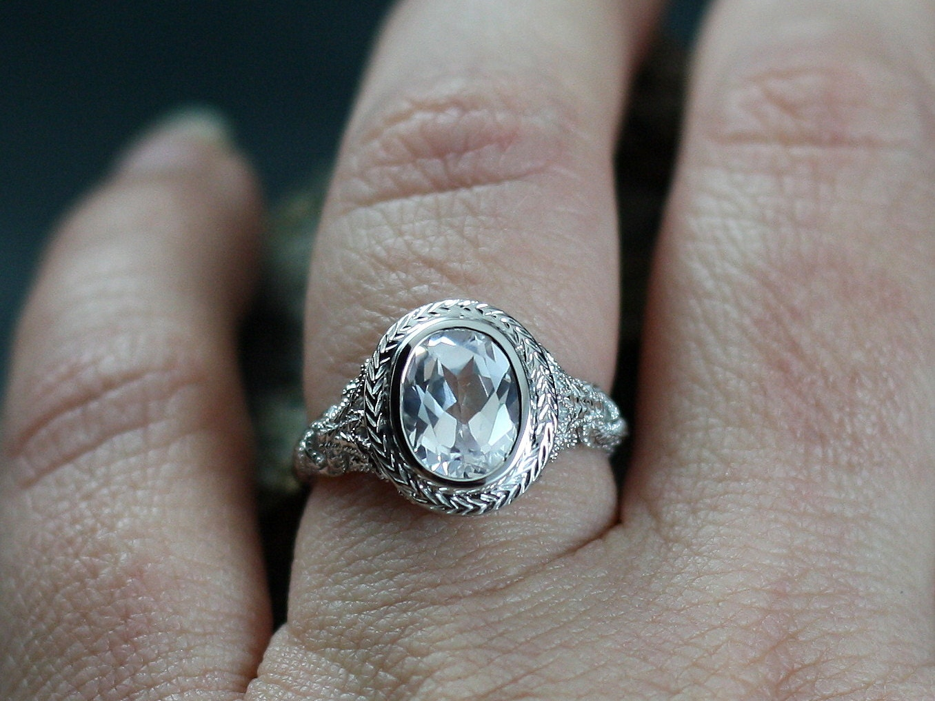 vintage white sapphire engagement ring oval antique bezel set