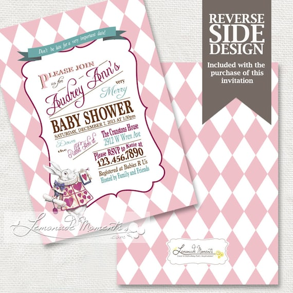 alice in wonderland baby shower invitation mad hatter tea party