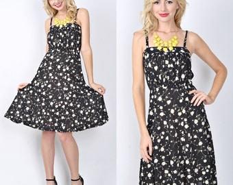 Vintage 80s Black Retro Dress Dolly Floral leaf print Midi Small Medium S M 0115
