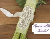 Rhinestone Bridal Bouquet Wrap, Crystal Flower Wrap, Beaded Bridal Sash Embellishment, SparkleSM, Flower Wrap - Samantha