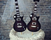 Electric guitar-wedding-cake topper-guitar-bride-groom-rock and roll-musician-player topper-music note-rock music-karaoke-band-grooms cake