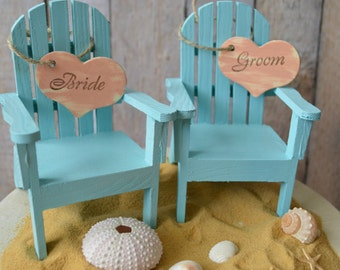 beach chairs-beach-wedding-cake topper-bride-groom-chairs-destination-miniature-Mr and Mrs-custom-Adirondack-small chairs-beach wedding
