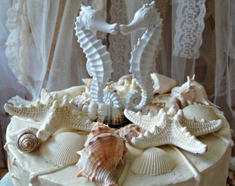 Seahorse Wedding Cake Topper Coral Kissing
