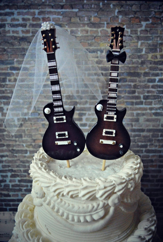 Electric Guitar Wedding Cake Topper Guitar Bride Groom Rock