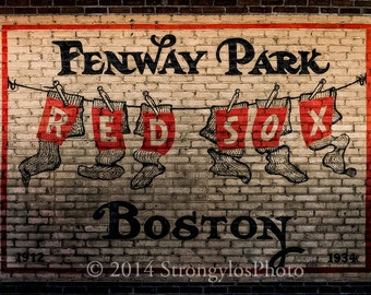 Baseball photo Fenway Park painted on bricks, Boston Red Sox, ballpark, baseball fans, fine art photo,StrongylosPhoto all sizes