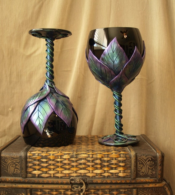 Aurora Borealis Glasses: Black Balloon Wine Glasses with Violet, Blue and Green Leaves