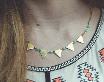 Triangle necklace, mint necklace, bunting necklace mint and gold, geometric jewelry, bunting jewelry