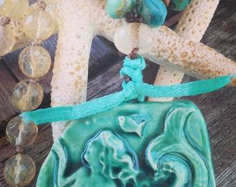 LAST ONE : SALE Bohemian Beachy Mermaid Necklace ~  hand knotted  Laguna Beach