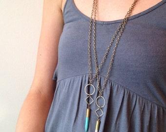 Geometric Howlite Stone Bullet Necklaces