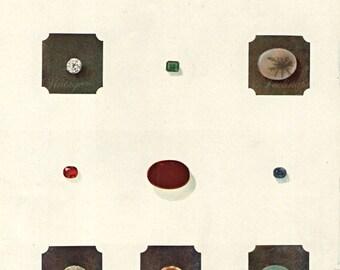 Vintage 1920 Minerals Print 493 Antique Gems Precious Stones print, art print, lithograph minerals wall print wall art