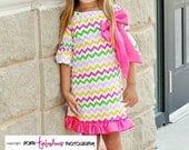 Cute Girl's Boutique Chevron Dress  - Fall Winter Spring - Toddler - Hot Pink Lime Green Yellow With Satin Bow - Size 12 24 months 2 3 4 5