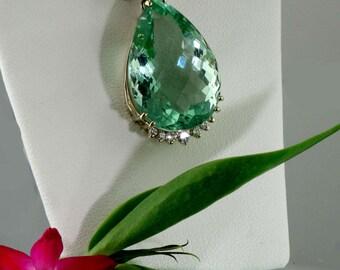 Gold Statement Pendant, Teardrop Pendant, Gemstone Teardrop Pendant, Green Fluorite, 18k gold pendant,  Diamond Pendant, Handmade Jewelry