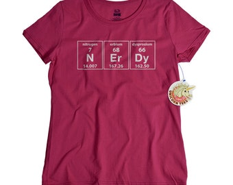 Womens funny tshirts science geek shirt for women periodic table of elements geekery t shirt