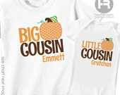 Pumpkin Big Cousin Shirt & Pumpkin Little Cousin Shirt or Bodysuit - 2 Personalized Pumpkin Cousin Shirts - Great for Fall Family Photos