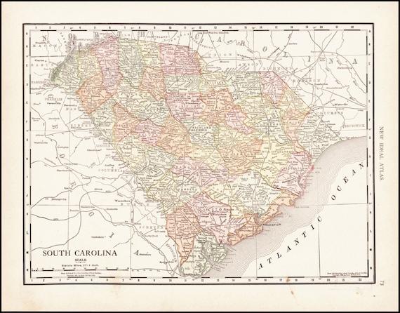 South Carolina Map Of South Carolina Counties 1913 Antique