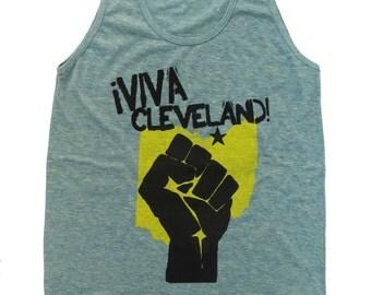 American Apparel SUPER SOFT Vintage Feel Unisex Tri-Blend Tank - 'Viva Cleveland' on Tri-Lemon