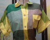 SALE Vintage 1950's Plaid Cotton Shirt Blouse Larger SIze Sand n' Sun