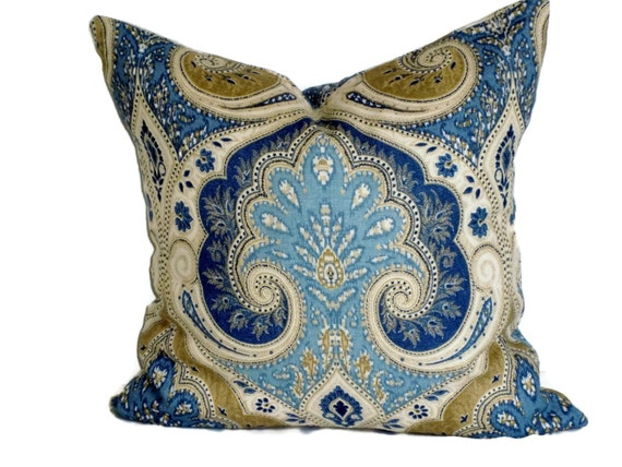 Bright Blue Decorative Pillow : Pillow Cover Kravet Bright Blue and Tan Decorative Pillow