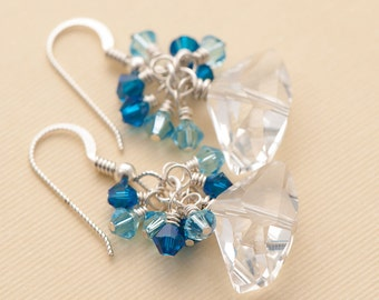 Blue Earrings   Sterling Silver Dangle Cluster   Swarovski Elements Galactic   Wire Wrapped ES396