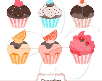 Cute Cupcakes Clip Art Clipart Set - Commercial and Personal use