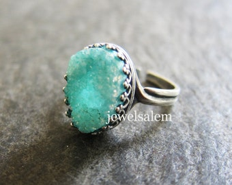 Aqua Ring Mint Druzy Ring Gift Silver Gold Brass Adjustable Turquoise Ring Gemstone Ring Aquamarine  Teal Exotic Ice Berg Winter