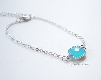 Turquoise Bracelet Silver Simple Modern Elegant Dainty Everyday Casual Jewelry Aqua Stone Teal Mint Blue Wedding Bridal Bridesmaids Bride C1
