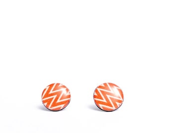 chevron stud earrings dark orange post earrings zig zag earrings recycled jewelry geometric earrings colorful studs resin ear studs gift