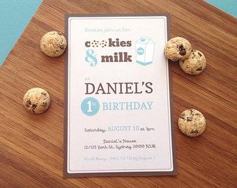Cookies and Milk Party Invitation - Birthday Invitation - PRINTABLE JPEG or PDF file