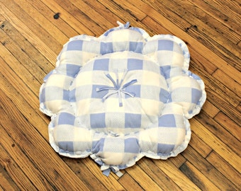Cat Bed/Floor Pillow Medium Large Fleece Blue White Plaid