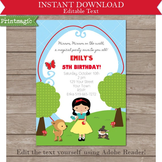 snow white party invitation editable text by printmagic on