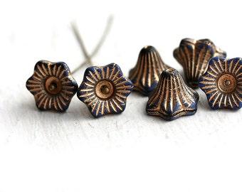 Flower Bell beads - Dark Blue, golden inlays - czech glass beads, 13mm, large - 6Pc - 1417