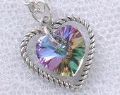 Light Vitrail Swarovski Crystal Heart Necklace - June Birthstone - Alexandrite - Silver Heart Charm - Gifts under 15