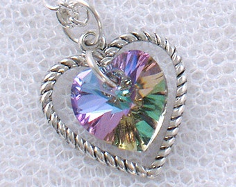 Light Vitrail Swarovski Crystal Heart Necklace - June Birthstone - Alexandrite - Silver Heart Charm - Gifts under 15