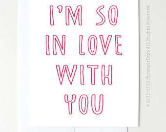 """Love Cards """" I'm so in love with you"""" Greeting Card. Romantic Card. Anniversary Card."""
