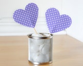 Polka Dot Heart Cupcake Toppers in Purple and White. Great for Valentine's Day, Birthday Parties, Spring Weddings and more - Set of 12 -
