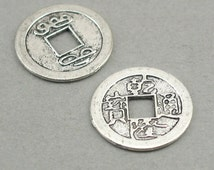 Ancient Chinese Lucky Coin Charms Antique Silver 4pcs base metal beads 24mm CM0681S