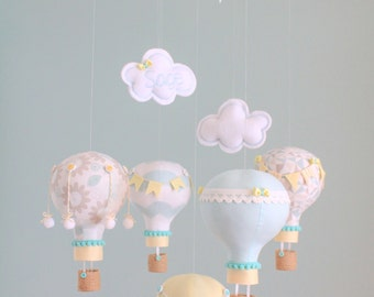 Custom Baby Mobile Personalized Hot Air Balloon Mobile