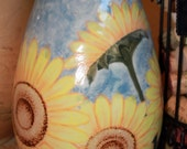 Handmade Ceramic Vase - OOAK Hand Painted Porcelain Vase with Sunflowers -  Unique Gift