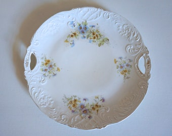 "Embossed and Scalloped Serving Plate 10"" Diameter Beautiful Shabby Chic Vintage Wedding Decor - Floyd Jones Vintage"
